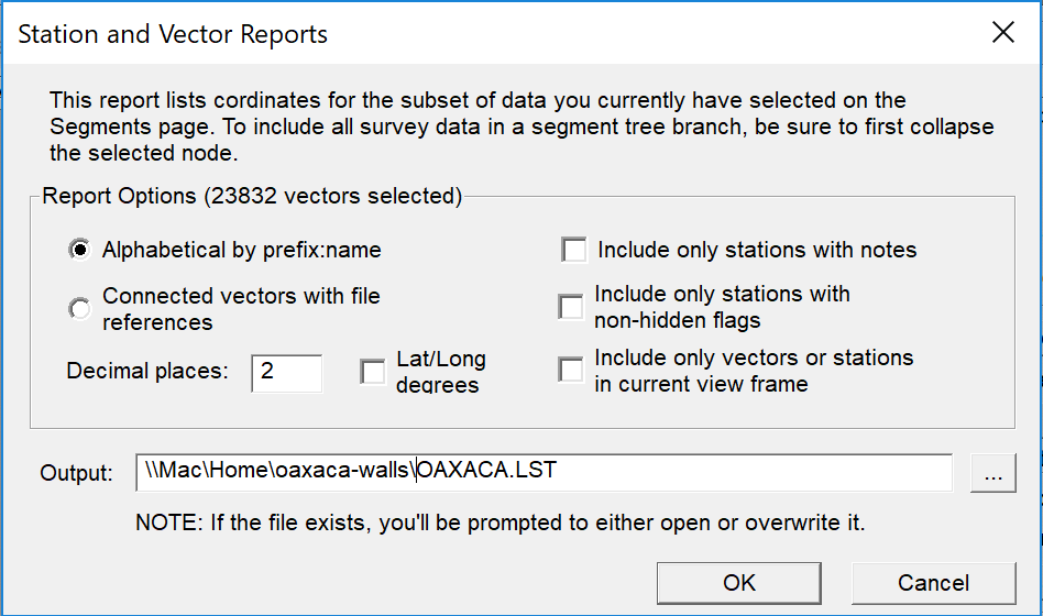 Station and Vector Reports Dialog